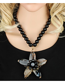 Bohemia Black Flower Pendant Decorated Simple Short Chain Necklace