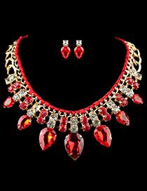 Elegant Red Watershape Diamond Decoarted Simple Jewelry Sets