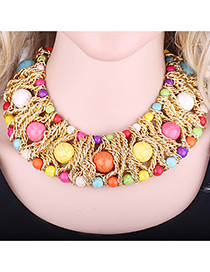 Exaggerate Multi-color Round Shape Decorated Simple Short Chain Necklace