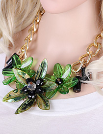Exaggerate Green Flower Shape Pendant Decorated Simple Short Chaine Necklace