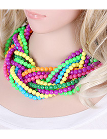 Exaggerate Multi-color Color-matching Decorated Hand-woven Multilayer Necklace