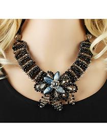Bohemia Black Flower Shape Decorated Simple Short Chain Necklace