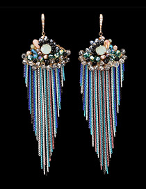 Bohemia Multi-color Color-matching Decorated Metal Tassel Decorated Long Earrings
