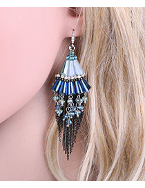 Elegant Blue Tassel Pendant Decorated Color Matching Simple Earrings