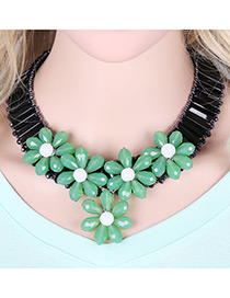 Lovely Green Flower Shape Decorated Simple Short Chain Necklace