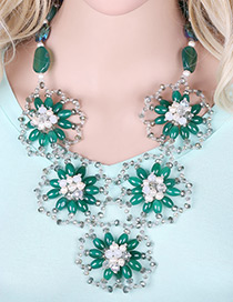 Elegant Green Hollow Out Flower Shape Decorated Simple Short Chain Necklace