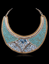 Exaggerate Blue Round Shape Gemstone Decorated Simple Collar Necklace