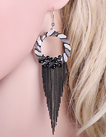 Bohemia Black Hollow Out Round Shape Decorated Simple Tassel Earrings