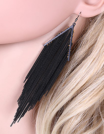 Personality Black Pure Color Decorated Simple Long Metal Tassel Earrings