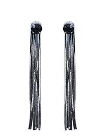Temperament Black Round Shape Diamond Decorated Long Tassel Earrings