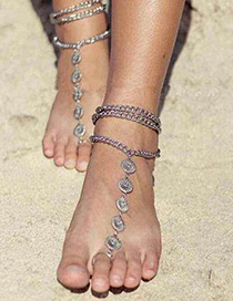 Vintage Silver Color Metal Flower Shape Decorated Simple Multilayer Anklet