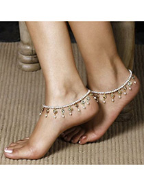 Elegant White Round Shape Decorated Simple Multilayer Anklet