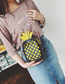 Fashion Black+yellow Pineapple Decorated Hollow Out Color Matching Shoulder Bag