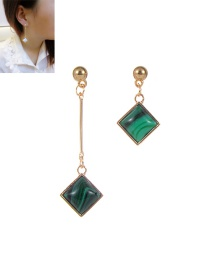 Fashion Green Square Shape Decorated Asymmetry Desgin Simple Earrings