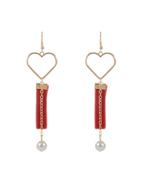 Trendy Red Heart Shape Decorated Hollow Out Design Color Matching Earrings