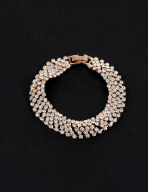 Elegant Gold Color Round Shape Diamond Decorated Simple Hollow Out Bracelet