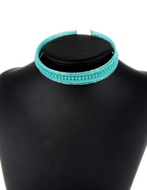 Trendy Blue Beads Decorated Simple Design Pure Color Choker