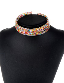 Trendy Multi-color Beads Decorated Simple Design Color Matching Choker