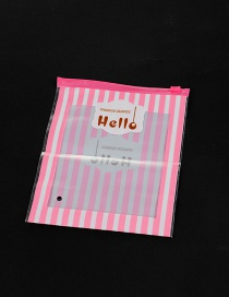 Fashion Pink Stripe&letter Pattern Decorated Simple Plastic Hermetic Bag (1pcs)