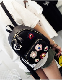 Fashion Black Flower Shape Decorated Color Matching Simple Backpack