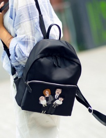 Trendy Black Figure Pattern Decorated Pure Color Simple Backpack
