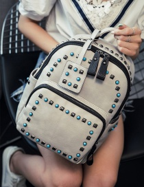 Fashion Gray Rivets Decorated Simple Design Pure Color Backpack