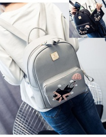 Trendy Gray Cat Pattern Decorated Pure Color Simple Backpack (4 Pcs)