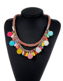 Trendy Mutli-color Fuzzy Balls Decorated Water Drop Shape Necklace