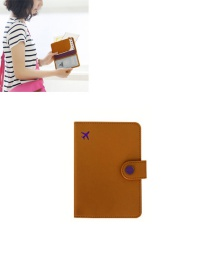 Fashion Brown Airplane Shape Pattern Decorated Pure Color Passport Wallet