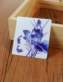 Fashion Blue Lotus Pattern Decorated Simple Sticky Hook