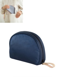 Fashion Navy Pure Color Decorated Simple Semicircle Makeup Bag