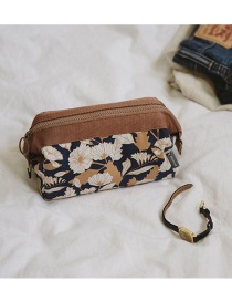 Fashion Brown Flower Pattern Decorated Color Matching Make Up Bags