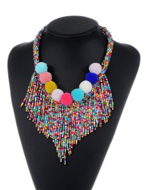 Bohemia Multi-color Fuzzy Ball Pendant Decorated Simple Tassel Necklace