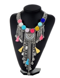 Bohemia Multi-color Fuzzy Ball Pendant Decorated Simple Long Tassel Necklace
