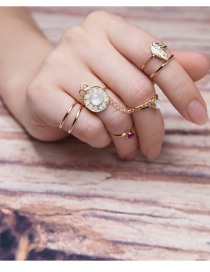 Fashion Gold Color Flower&leaf Decorated Color Matching Simple Ring(6pcs)