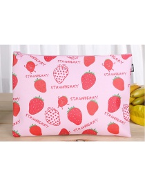 Fashion Pink Strawberry Pattern Decorated Square Shape Stationery Bag