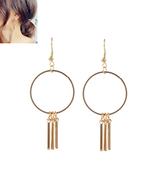 Trendy Gold Color Tassel Decorated Circular Ring Design Pure Color Earrings