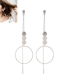 Trendy Silver Color Pearl&tassel Decorated Pure Color Simple Earrings