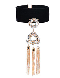 Vintage Gold Color Hollow Out Triangle Decorated Simple Tassel Choker