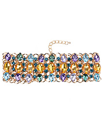 Luxury Multi-color Color -matching Design Hollow Out Choker