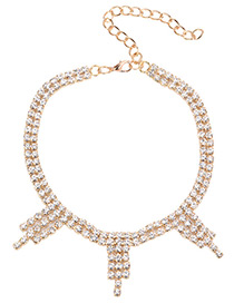 Luxury Gold Color Round Shape Diamond Decorated Simple Short Chain Necklace