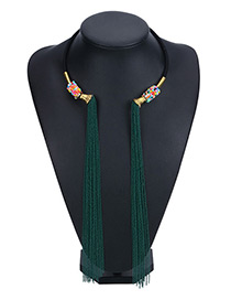 Vintage Green Double Long Tassel Decorated Simple Opeing Necklace