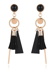 Fashion Gold Color Hollow Out Round Shape Decorated Simple Tassel Earrings