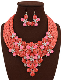 Bohemia Red Flower Shape Decorated Simple Hand-woven Design Jewelry Sets