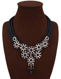 Bohemia Black Round Shape Decorated Simple Hand-woven Short Chain Necklace