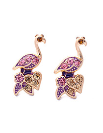 Elegant Multi-color Swan Shape Decorated Simple Color-matching Earrings
