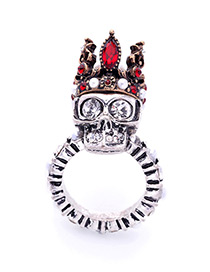 Personality Silver Color Skull&royal Crown Shape Decorated Simple Ring