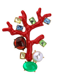 Personality Multi-color Geometric Shape Diamond Decorated Simple Branch Design Brooch