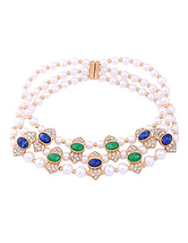 Elegant White Oval Shape Decorated Simple Hollow Out Multilayer Necklace