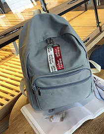 Fashion Gray Pure Color Decorated Square Shape Simple Backpack